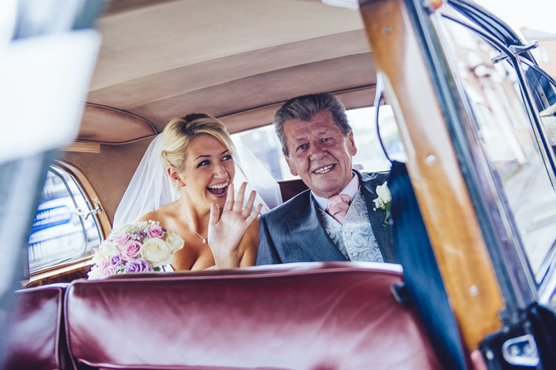 Bride & Father Arriving in Wedding Car