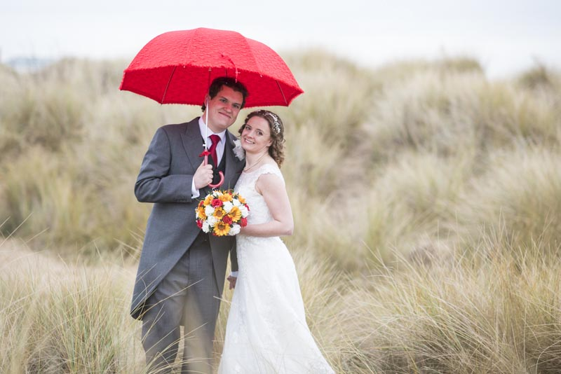 Michelle and Grant With Red Umbrella