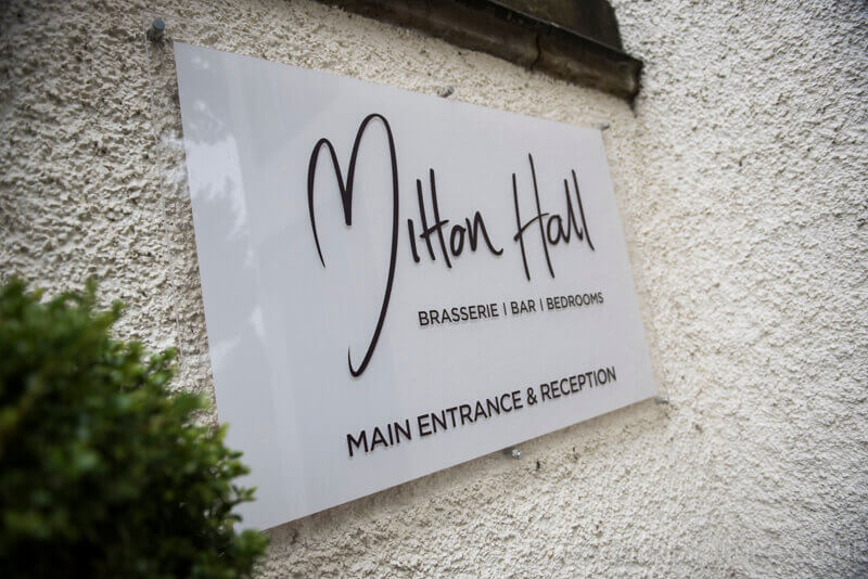 Mitton Hall Welcome Sign
