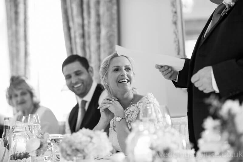 Nicola laughing at wedding speech joke